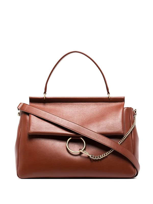 Chloé Brown Faye Large Leather Shoulder Bag In Sepia Brown