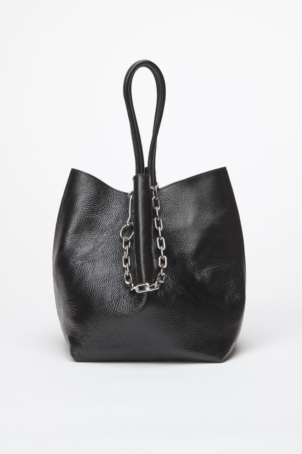 Alexander Wang Small Roxy Covered Chain Leather Bucket Bag In Black