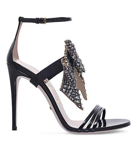 42d9720c681 Gucci Ilse Embellished Patent-Leather Sandals In Black