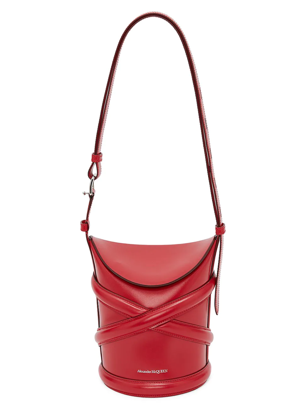 Alexander Mcqueen Small The Curve Leather Bucket Bag In Red