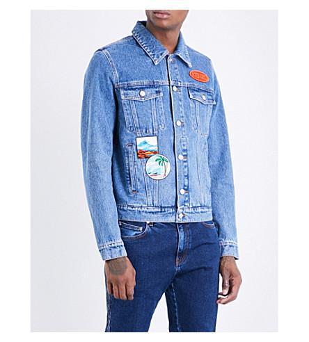 334b6632 Kenzo Badge-Embroidered Denim Jacket In Blue | ModeSens