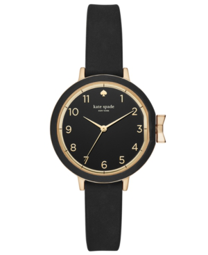 Kate Spade Park Row Silicone Strap Watch, 34Mm In Black