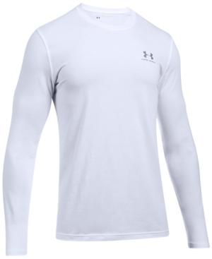 Under Armour Men's Charged Cotton Long-Sleeve T-Shirt In White