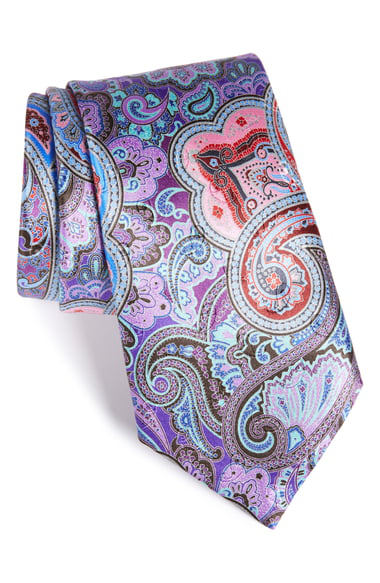 Ermenegildo Zegna Quindici Paisley Tie, Purple In Medium Purple Fan