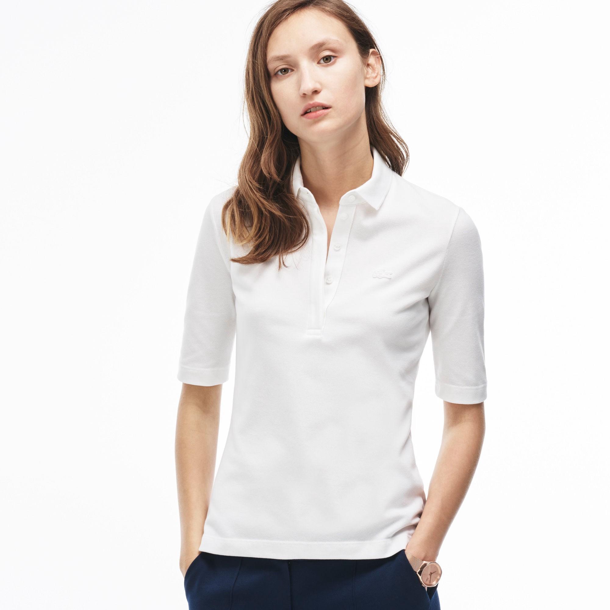 Women's Slim Fit Half Sleeve Stretch Piqué Polo Shirt - White