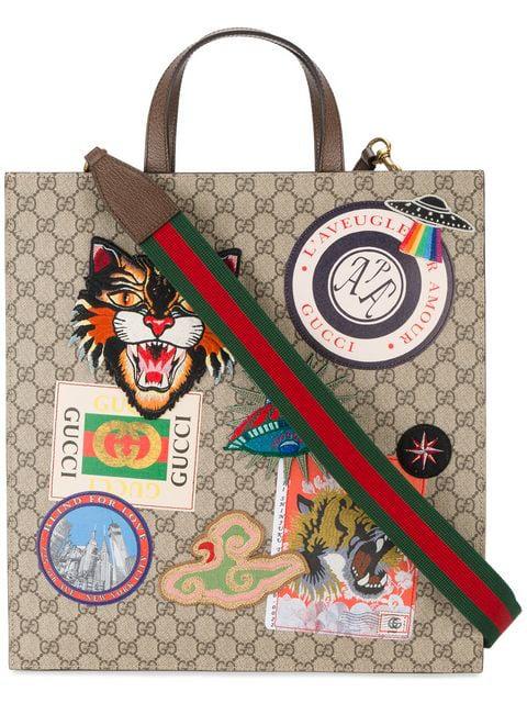 91ca0a72ab38 Gucci AppliquÉD Gg Supreme Shopper Tote Bag - Beige, Tan In Neutrals. SIZE  & FIT INFORMATION
