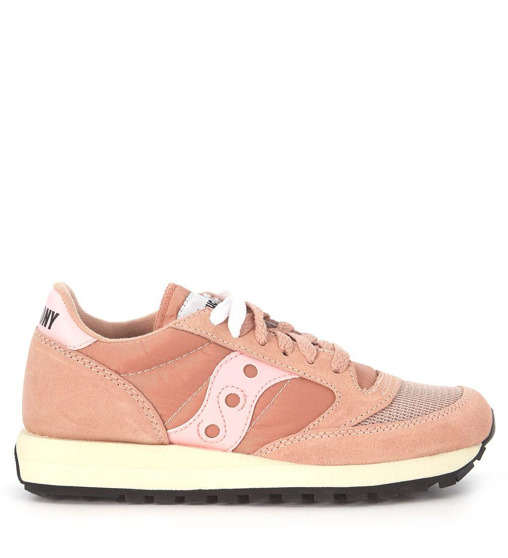 new concept d0aee 8ddd6 Jazz Vintage Peach Pink Fabric And Suede Sneaker in Rosa