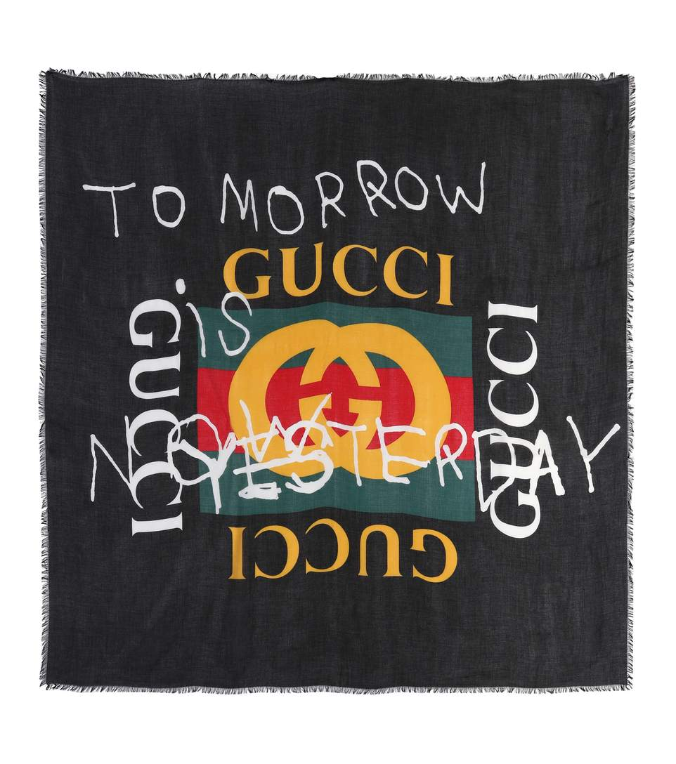 487f2f7b8ee Gucci Printed Modal And Silk-Blend Scarf In Llack