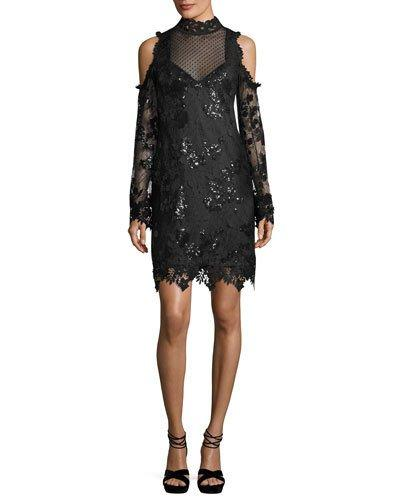 ad47041b7a48f Nanette Lepore Corine Cold-Shoulder Sequin Lace Cocktail Dress In Black