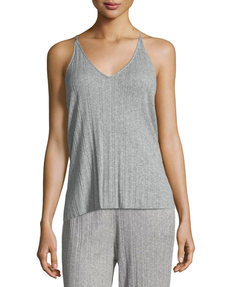 Skin Vienna Ribbed Lounge Camisole In Medium Gray