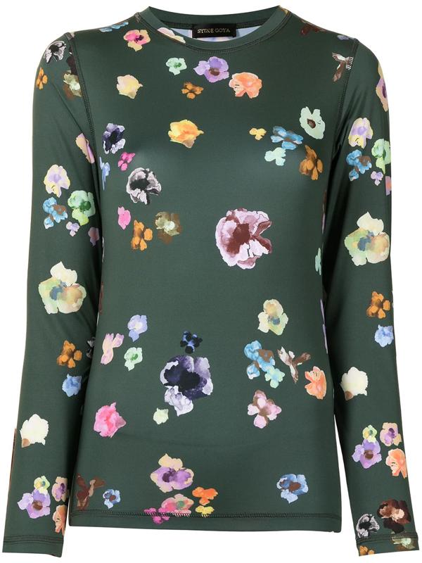 Stine Goya Juno Floral-print Long-sleeve Top In 1969 Flower Euphoria