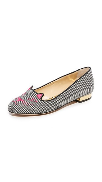 Charlotte Olympia Woman Leather-Trimmed Embroidered Houndstooth Woven Slippers Black