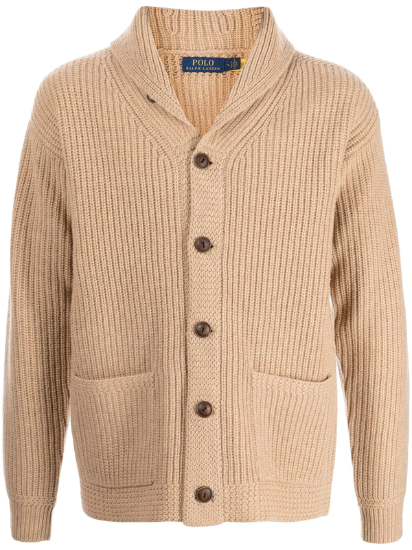 Polo Ralph Lauren Mens Camel Melange Shawl-collar Relaxed-fit Wool And Cashmere-blend Cardigan Xxl In Neutrals