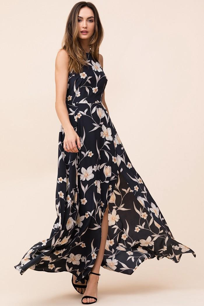 Yumi Kim Dream Floral Print Silk Maxi Dress In Candle Light Romance