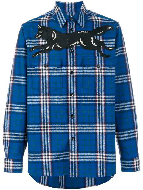 06f13de8598c Gucci Embroidered Checked Wool And Cashmere-Blend Flannel Shirt In Blue