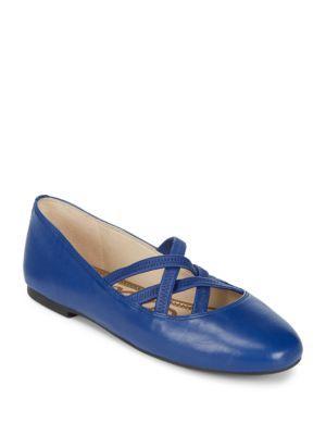 Sam Edelman Fredrick Leather Ballet Flats In Blue