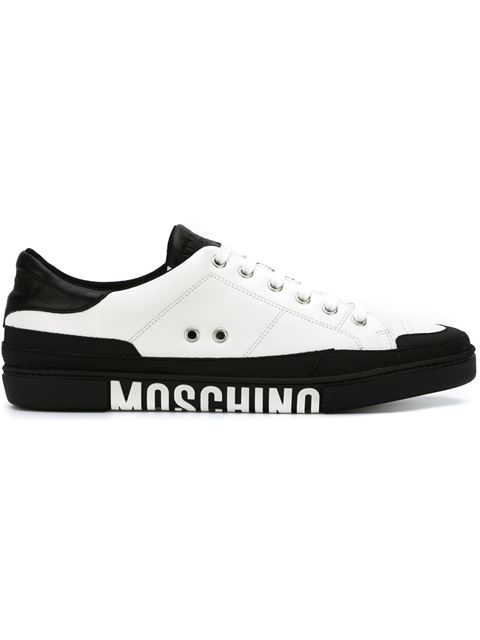 Moschino Clean Logo Sole Leather Sneakers In White