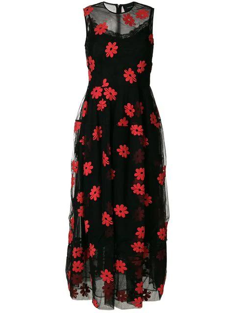 Simone Rocha Pocket Bell Tulle Dress In Black/Red