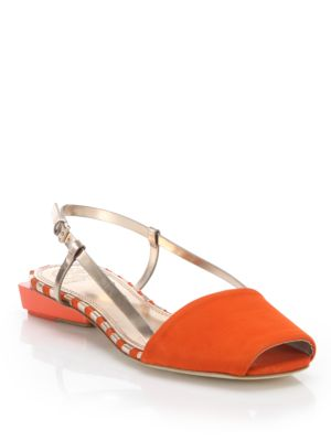40a8e968640a Tory Burch Pietra Suede   Metallic Leather Slingback Sandals In Poppy Red