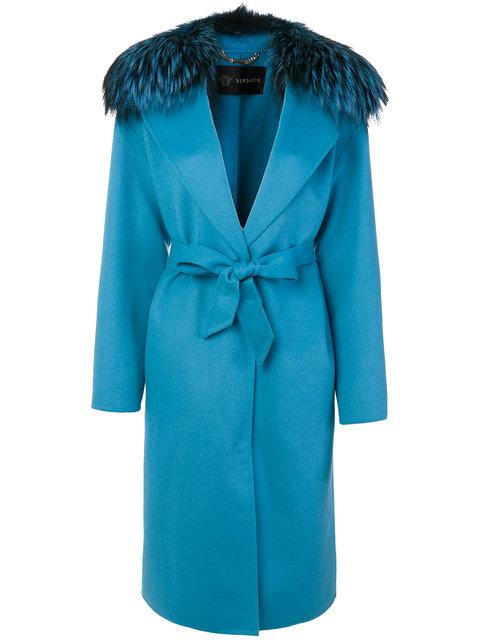 Versace Fur Trim Coat In Blue