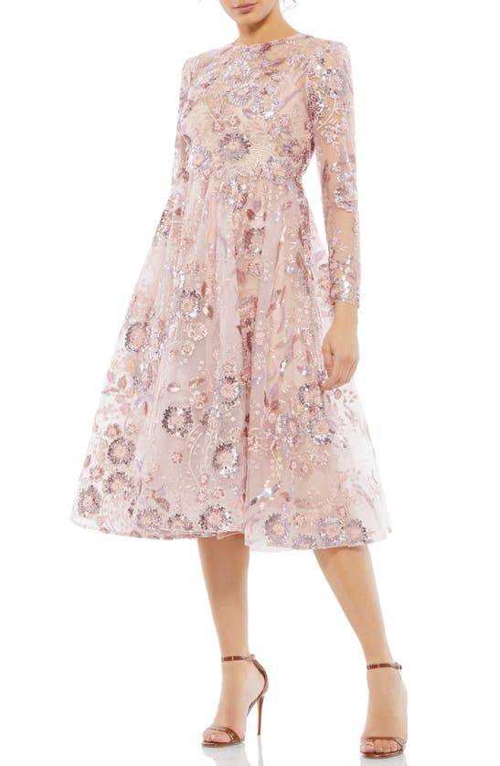 Mac Duggal Sequin Floral Long Sleeve A-line Midi Dress In Rose Pink