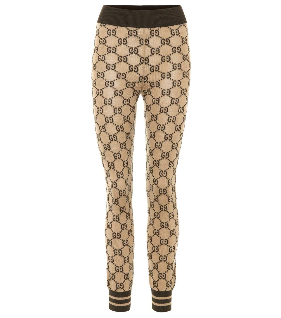 9472125d51ffb Gucci Intarsia Gg Wool Leggings In Leige | ModeSens