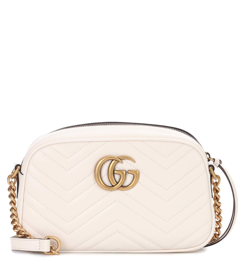 Gucci Gg Marmont MatelassÉ Leather Crossbody Bag In White
