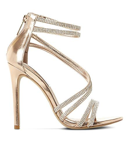fb6ec8c7bf0 Steve Madden Sweetest Embellished Heeled Sandals In Rose Gold-Leather