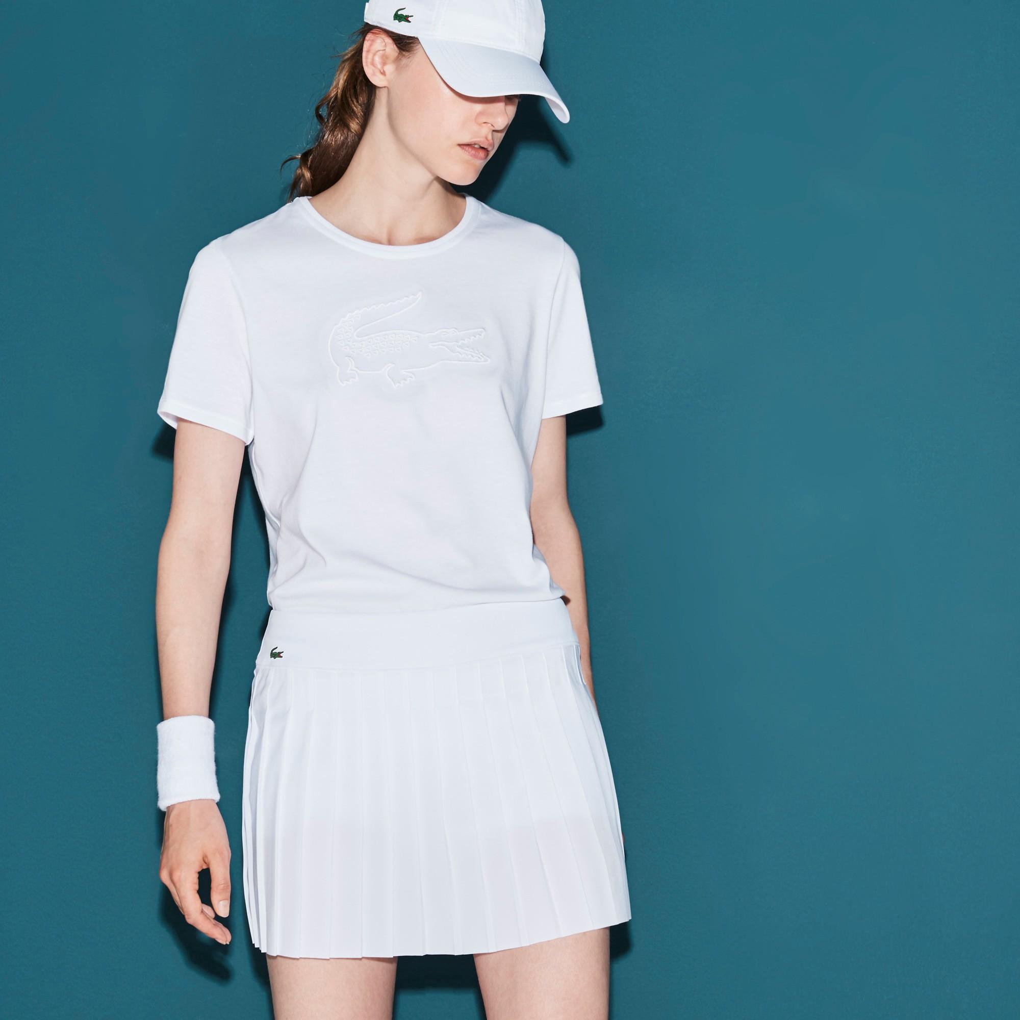 bd0f8641b4 Women's Lacoste Sport Tennis Croc Embroidery Tech Jersey T-Shirt -  White/White