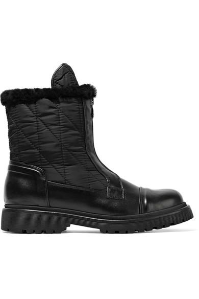 78319dcc955a9d Moncler Alexandra Shearling-Trimmed Shell And Leather Ankle Boots In Black