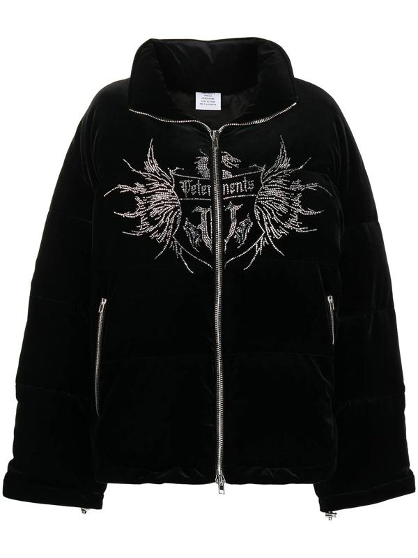 Vetements Crystal Puffer Jacket Black