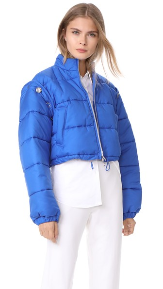 3.1 Phillip Lim Detachable Sleeve Cropped Puffer Jacket In Electric Blue
