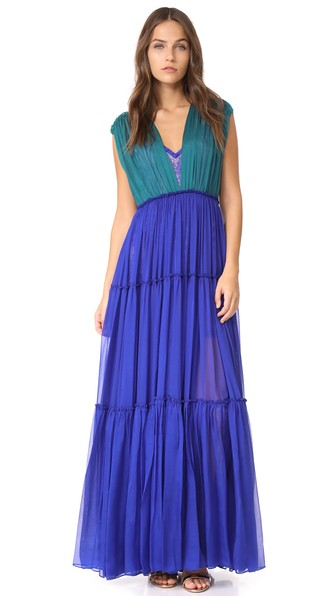 Catherine Deane Juda Dress In Teal/sapphire