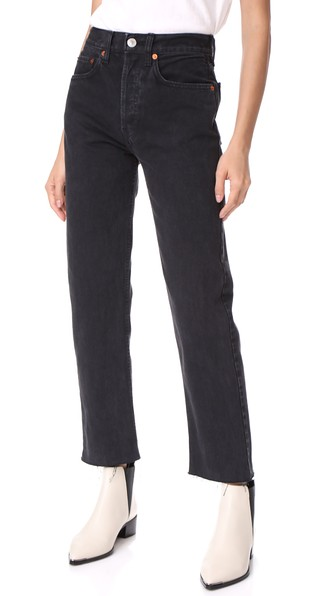 Re/done High Rise Rigid Stove Pipe Jeans In Washed Black