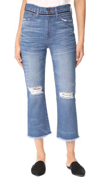 Madewell Retro Cropped Bootcut Jeans With Ripped Knees In Cornwall