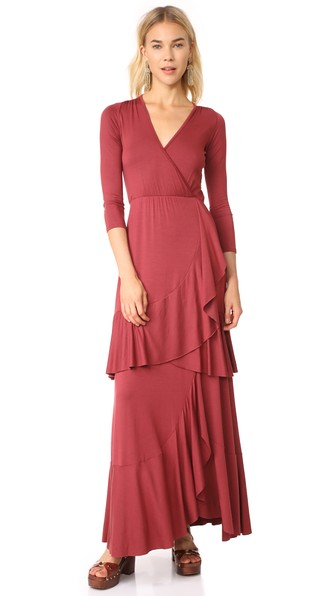 Rachel Pally Sevilla Ruffled Long Dress, Plus Size In Nebbiolo