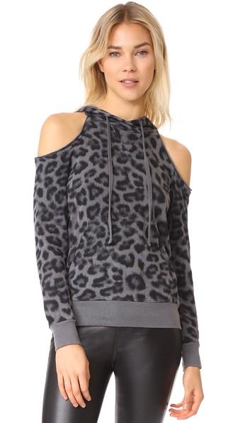 Splendid Printed Leopard Cold Shoulder Hoodie In Lead