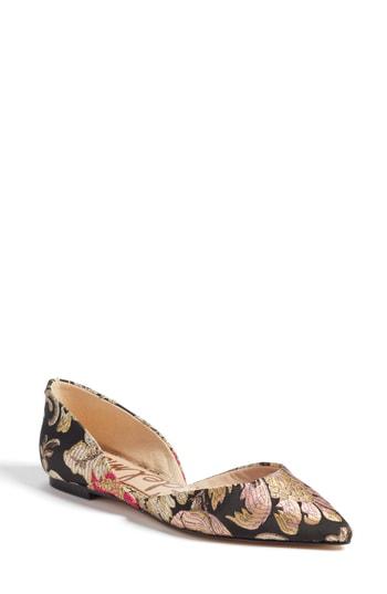 Sam Edelman Rodney Tapestry D'orsay Pointed Toe Flats In Black Jacquard Print