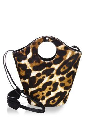 Elizabeth And James Market Shopper Small Cow Hair Satchel Bag, Leopard