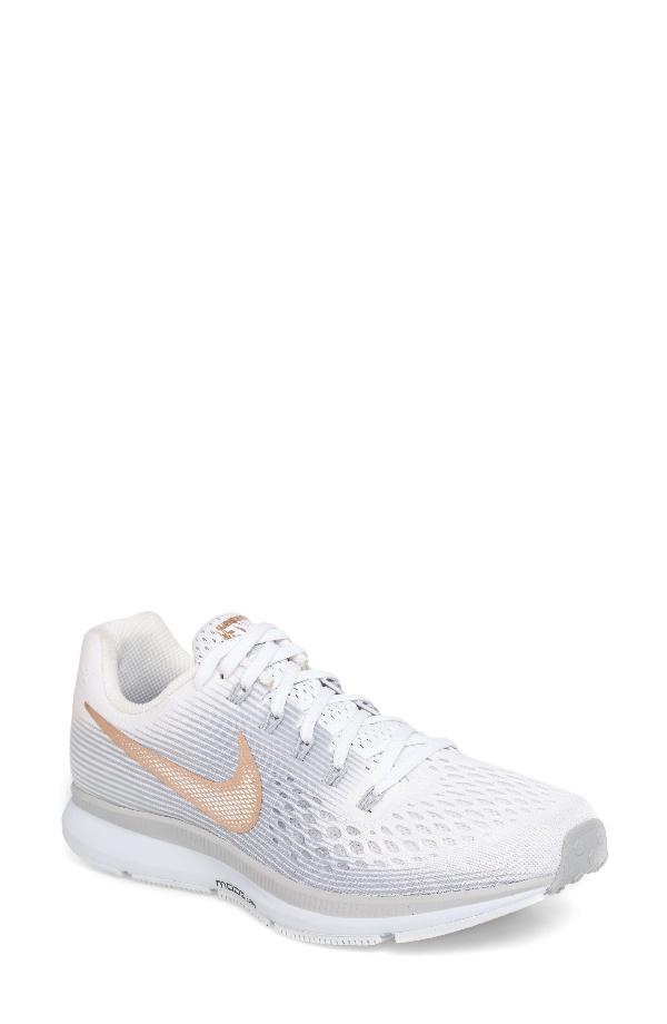 Nike Women's Air Zoom Pegasus Lace Up Sneakers In White/ Metallic Red/ Bronze