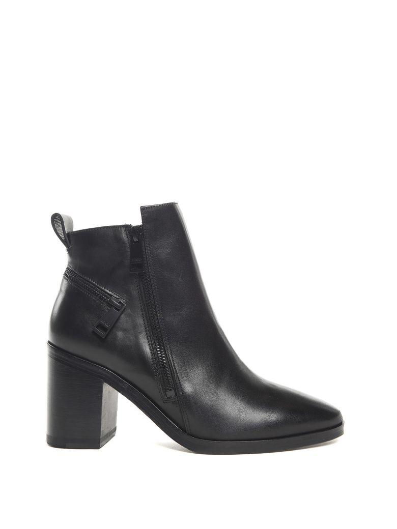 Kenzo Totem Zipped Leather Ankle Boots In Nero