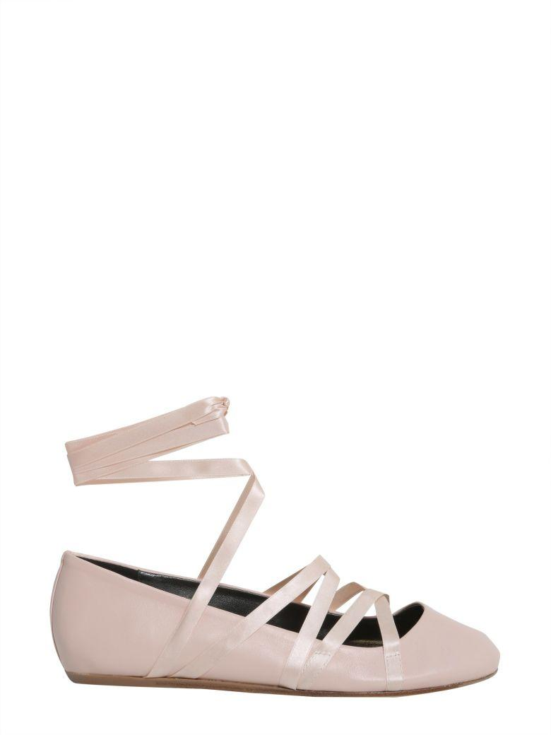 Lanvin Lace-up Ballet Flat In Rosa