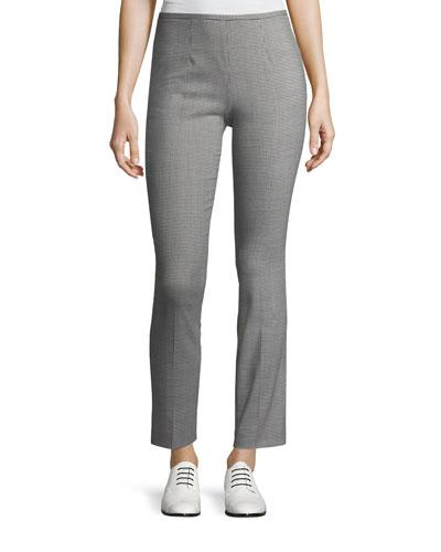 Michael Kors Cropped Houndstooth Pants In Gray Pattern