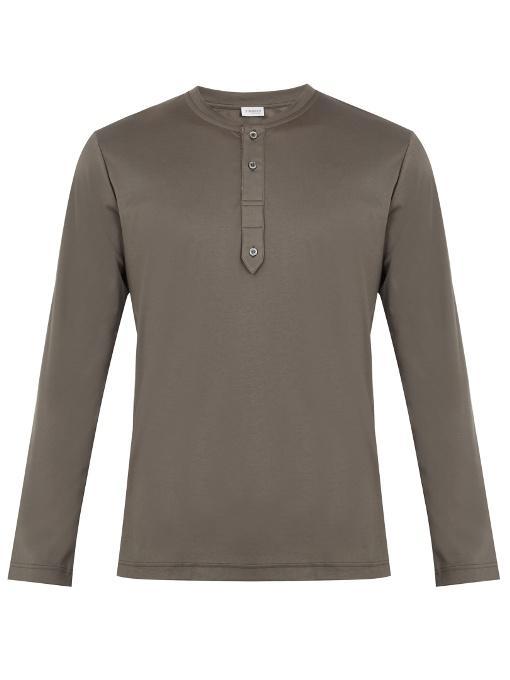 Zimmerli Crew-neck Sea-island Cotton-jersey Pyjama Top In Dark Grey