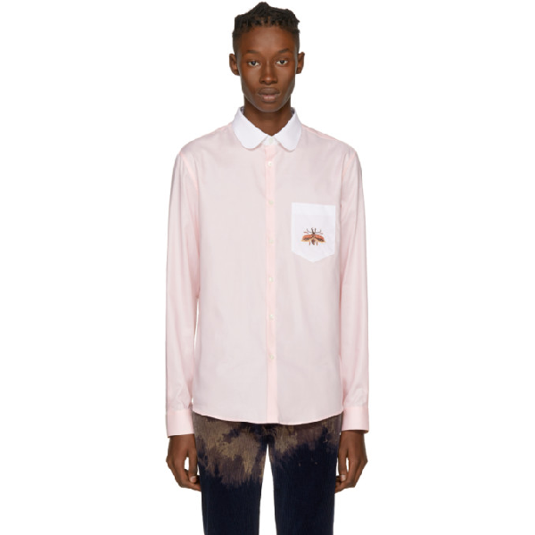 Gucci Contrast-collar Beetle-embroidered Cotton Shirt In 5539 Candy Pink