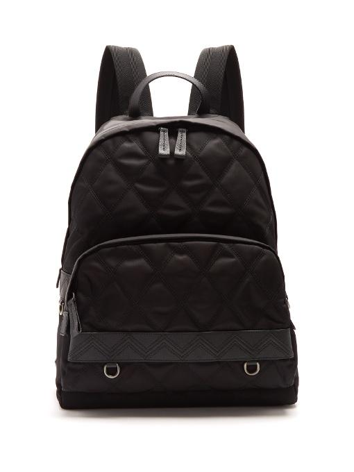 Prada Leather-trimmed Zip-around Quilted Backpack In Black