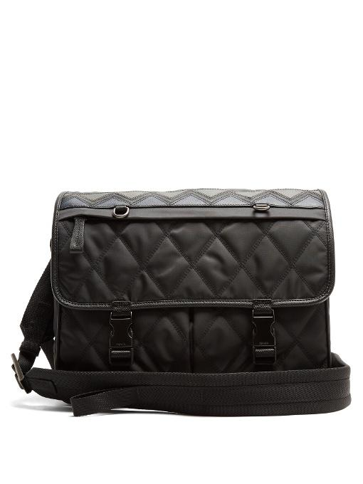 Prada Leather-trimmed Quilted Cross-body Bag In Dark Grey