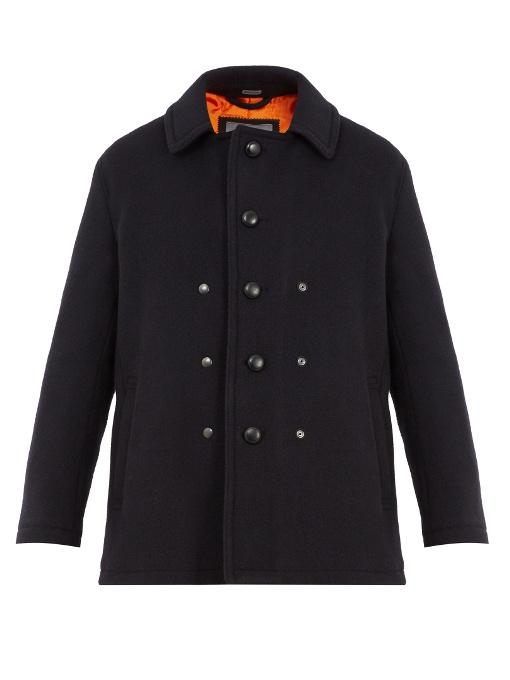 Lanvin - Single Breasted Wool And Mohair Blend Pea Coat - Mens - Navy