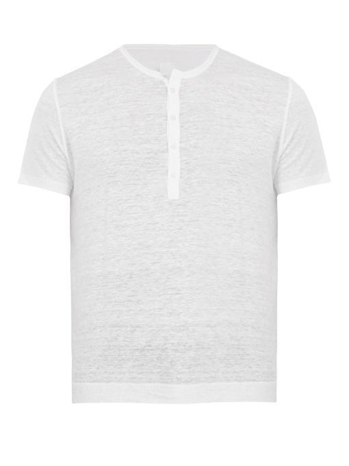 120% Lino Henley Linen T-shirt In White