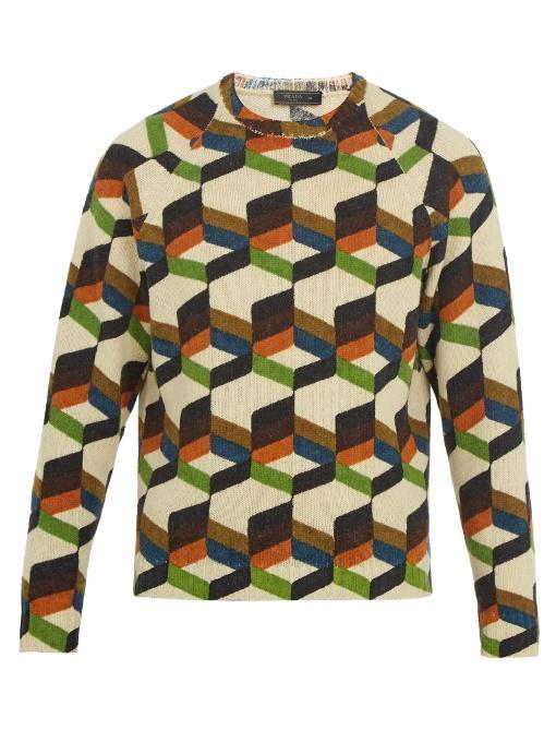 Prada Geometric-print Wool Sweater In Beige